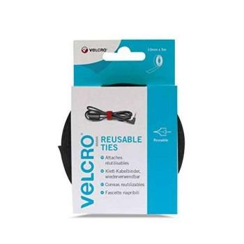 VELCRO TIE TAPE BLACK 10mmX5m 60253
