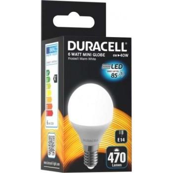 DURACELL - LED Λάμπα E14 Στρογγυλό G45 6W 270° 230V Από Πλαστικό Και Αλουμίνιο Θερμό Λευκό - 35730