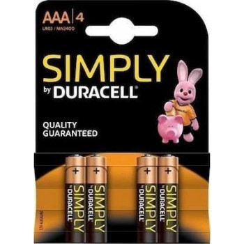 Duracell - Alkaline Batteries AAA 1.5V Simply 4 Pcs - 6734
