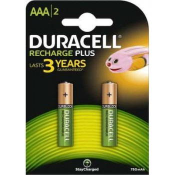 Duracell - Rechargeable Alkaline Batteries Plus AAA 750mAh (2pc)- 790203