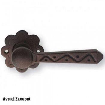 SET Knobs for Door ZOGOMETAL Rustic series 135 Antique rust