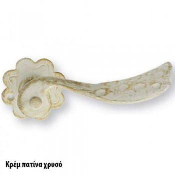 SET Knobs for Door ZOGOMETAL Rustic Series 136 Gold Patina